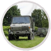 Unimog Truck Of The Belgian Army Round Beach Towel by Luc De Jaeger