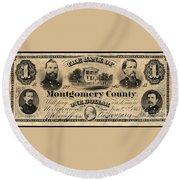 Union Banknote, 1865 Round Beach Towel
