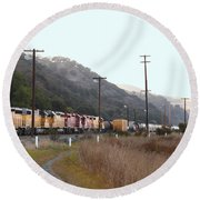 Union Pacific Locomotive Trains . 7d10558 Round Beach Towel