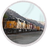 Union Pacific Locomotive Trains . 7d10561 Round Beach Towel