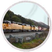 Union Pacific Locomotive Trains . 7d10564 Round Beach Towel