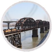 Union Pacific Locomotive Trains Riding Atop The Old Benicia-martinez Train Bridge . 5d18849 Round Beach Towel