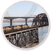 Union Pacific Locomotive Trains Riding Atop The Old Benicia-martinez Train Bridge . 5d18850 Round Beach Towel