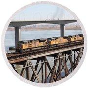 Union Pacific Locomotive Trains Riding Atop The Old Benicia-martinez Train Bridge . 5d18851 Round Beach Towel