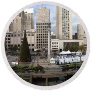 Union Square Sf Round Beach Towel by Ron Bissett