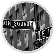 Union Square West Round Beach Towel by Susan Candelario