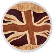 United Kingdom Flag Coffee Painting Round Beach Towel
