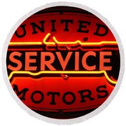 United Motors Service Neon Sign Round Beach Towel