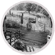 Unmanned Railway Crossing At Hope Round Beach Towel