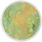Untitled Abstract - Caramel Teal Round Beach Towel