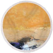 Untitled Abstract - Amber Peach  With Violet Round Beach Towel