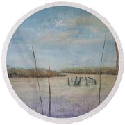Up Among The Heather Round Beach Towel