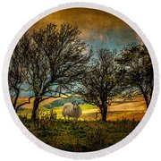 Up On The Sussex Downs In Autumn Round Beach Towel