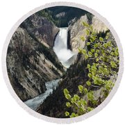 Upper Falls Of The Yellowstone River Round Beach Towel