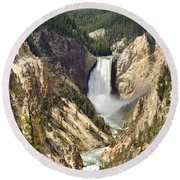Upper Falls Yellowstone Round Beach Towel