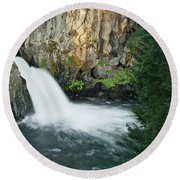 Upper Mccloud Falls Round Beach Towel