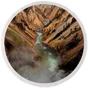 Upper Yellowstone Falls Round Beach Towel