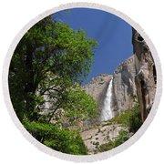 Upper Yosemite Falls Round Beach Towel