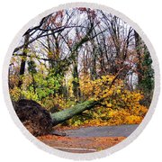 Uprooted Round Beach Towel