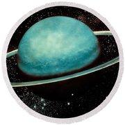 Uranus With Its Rings Round Beach Towel