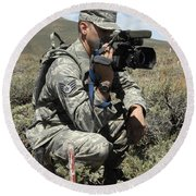 U.s. Air Force Sergeant Shoots Video Round Beach Towel