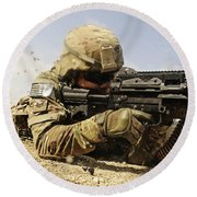U.s. Air Force Soldier Fires The Mk48 Round Beach Towel