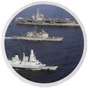 U.s. And French Navy Ships Transit Round Beach Towel