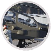 U.s. Army Ah-64d Apache Helicopter Round Beach Towel