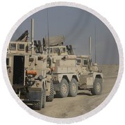 U.s. Army Cougar Mrap Vehicles Round Beach Towel