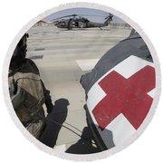 U.s. Army Crew Chief Inspects Round Beach Towel