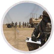 U.s. Army Radio Operator Communicates Round Beach Towel