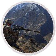 U.s. Army Sniper Provides Security Round Beach Towel
