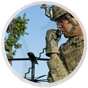 U.s. Army Soldier Calls For Indirect Round Beach Towel