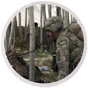 U.s. Army Soldier Communicates Possible Round Beach Towel