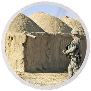 U.s. Army Soldier Conducts A Dismounted Round Beach Towel