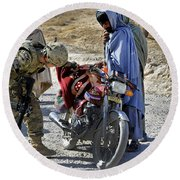 U.s. Army Soldier Conducts Vehicle Round Beach Towel