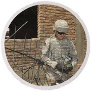 U.s. Army Soldier Configures Round Beach Towel