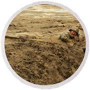 U.s. Army Soldier Fights Racing Water Round Beach Towel
