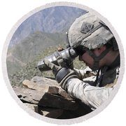 U.s. Army Soldier Monitors An Afghan Round Beach Towel