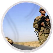 U.s. Army Soldier On Patrol Round Beach Towel