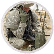 U.s. Army Soldier Performs A Radio Round Beach Towel by Stocktrek Images