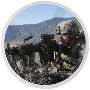 U.s. Army Soldier Provides Overwatch Round Beach Towel