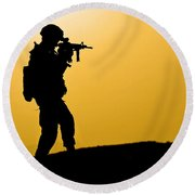 U.s. Army Soldier Secures An Area Round Beach Towel