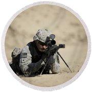 U.s. Army Soldier Sights In A Barrett Round Beach Towel