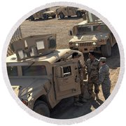 U.s. Army Soldier Speaks With Iraqi Round Beach Towel by Stocktrek Images