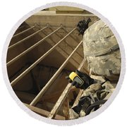 U.s. Army Soldier Takes A Gps Grid Round Beach Towel by Stocktrek Images