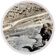U.s. Army Soldiers And Afghan Border Round Beach Towel