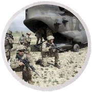 U.s. Army Soldiers Board A Ch-47 Round Beach Towel