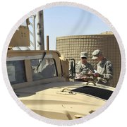 U.s. Army Soldiers Take Accountability Round Beach Towel
