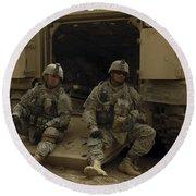 U.s. Army Soldiers Waiting At Patrol Round Beach Towel